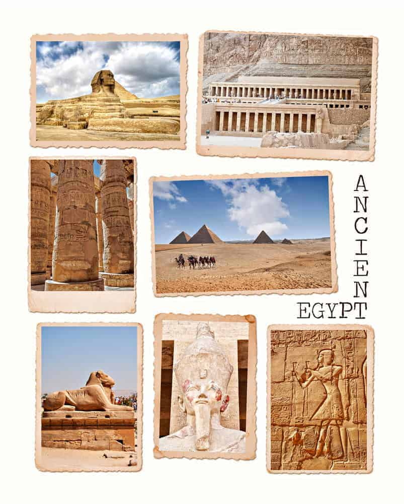 Collection of images from the ancient wonders of Egypt.