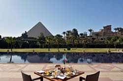 Le Meridien Pyramids Hotel. This beautiful hotel has such a unique location with its private landscape gardens, it is very close to the Great Pyramids and Sphinx, only one mile away from the pyramids and few minutes from the down town and the airport.