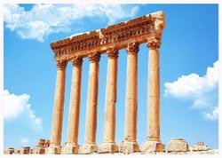 Baalbek, properly Baʿalbek and also known as Balbec, Baalbec or Baalbeck, is a town in the Anti-Lebanon foothills east of the Litani River in Lebanon's Beqaa Valley, about 85 km northeast of Beirut and about 75 km north of Damascus.