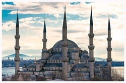 The mosque is popularly known as the Blue Mosque for the blue tiles adorning the walls of its interior