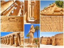 Karnak consists of huge pillars, towering columns, massive avenues of sphinxes, and an obelisk that stands 97-feet tall and weighs 323-tons (646000 pounds).There is a sphinx avenue for over a mile and half and 1500 sphinx statues once connected (and still) Karnak and Luxor temples together. This road was used once a year during the OPET festival (the honeymoon for God Amun Ra & his wife Goddess Mut).