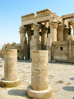 Kom Ombo temple is located in Upper Egypt between Luxor and sawn, about 85 miles south Luxor and 35 miles North of Aswan. The history of this beautiful temple dates back to the Graeco – Roman period (332 B.C – 395 A.D). What's special about this temple, it is in fact a double temple. It was dedicated to God Horus, the falcon headed god and God Sobek, the crocodile god.