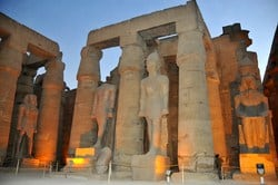Luxor Temple located in the East Bank of Luxor. It was built by King Ramses II, the Great Builder of Egypt. Luxor temple was built for God Amun Ra and his wife Goddess Mut.