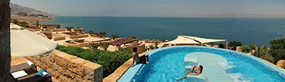 It is located on the northern shores of the Dead Sea at the lowest point on Earth, the Movenpick Dead Sea deluxe resort is built in a traditional village style and offers luxurious rooms.