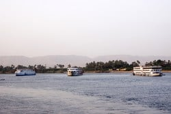 Three cruise ships on luxury Egyptian Nile Cruises Between Luxor and Aswan