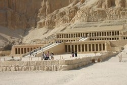 Hatshepsut Temple (also known as El Deir Al Bahari Temple ) is located in the West Bank of Luxor in Upper Egypt, only 2 miles away from the tomb of King Tut.