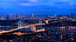 The Bosphorus Bridge, also called the First Bosphorus Bridge or simply the First Bridge, is one of two suspension bridges spanning the Bosphorus strait in Istanbul, Turkey; thus connecting Europe and Asia.