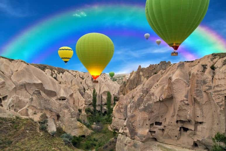 Hot air balloons sunset, Cappadocia, Turkey