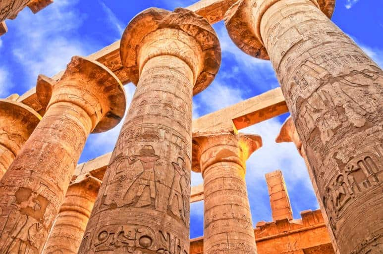 Great Hypostyle Hall and clouds at the Ramesseum Temple Temples in Luxor, Egypt.