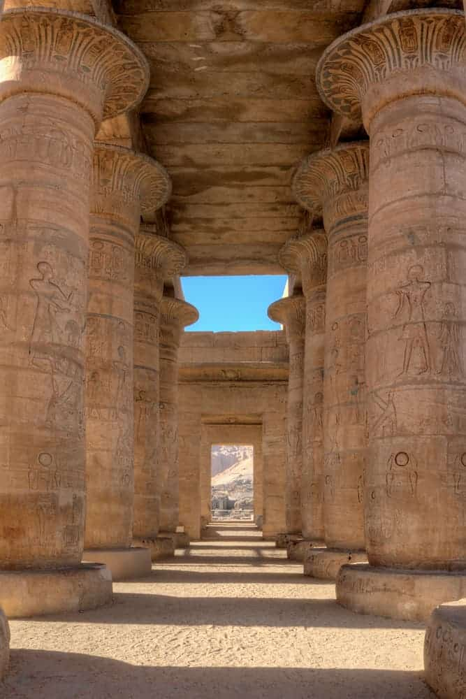 Colonnade of King Ramses II in Habu Temple, Luxor, Egypt