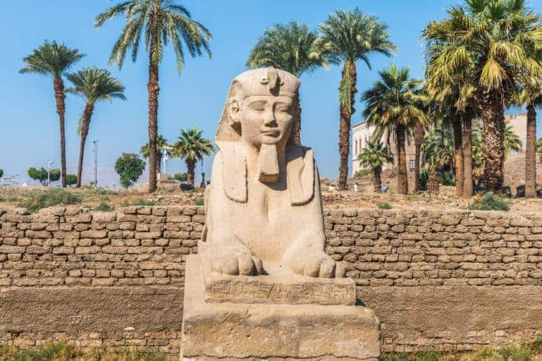 Sphinx Statue Representing King Ramses II in Luxor temple. Luxor is one of the top  Egypt destinations for those who are interested in Egyptian history.