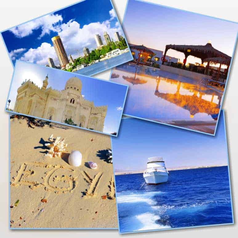 Collage of beautiful Alexandria, Egypt