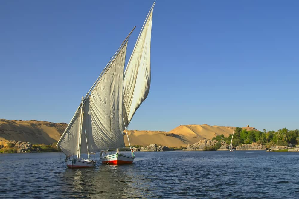 Typical sailing on the Nile in Aswan, Egypt