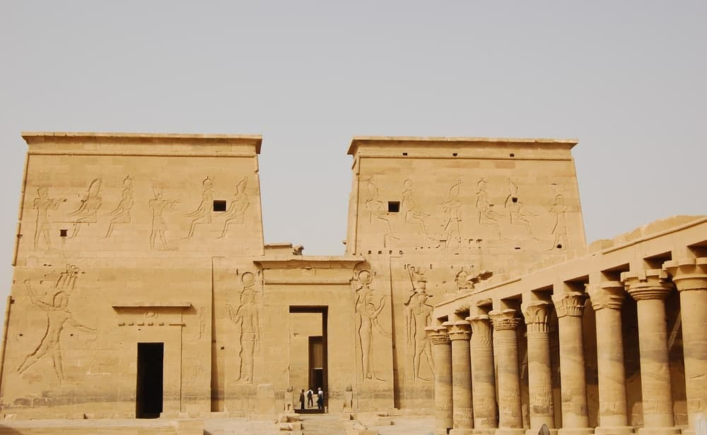 Colonnade and first pylon of the Temple of Isis in Philae, Egypt