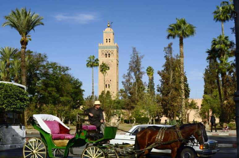 Traditional horse drawn coach in front of Koutoubia mosque