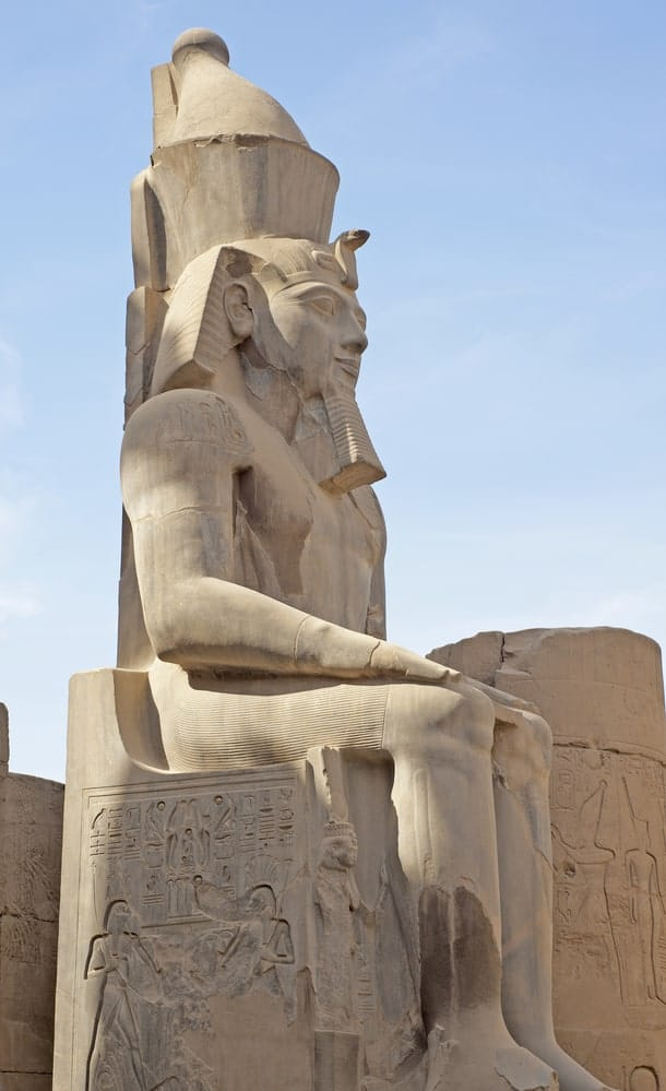 One of the large statues of Ramesses II at Luxor Temple in Egypt