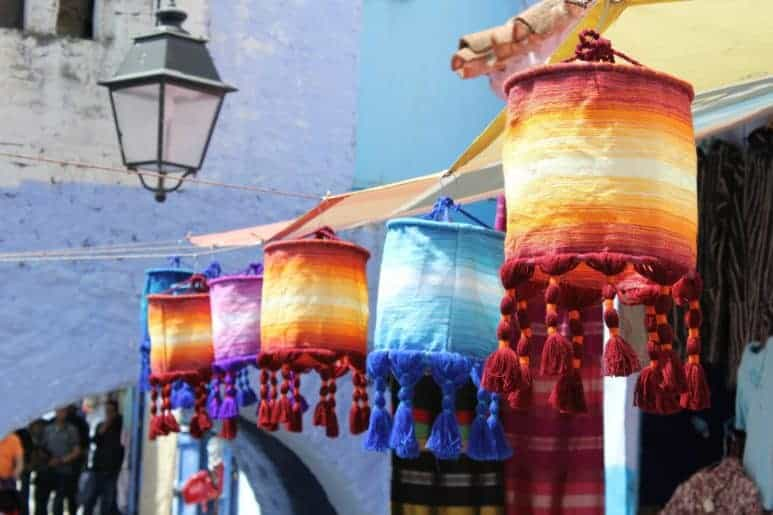 Blue handmade decorations in Chefchaouen