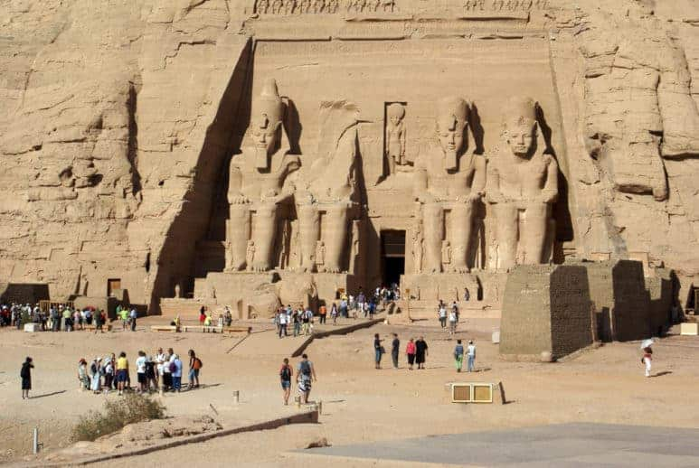 Temple in Abu Simbel and tourists, Egypt