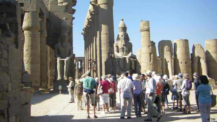 Travelers in Luxor Temple