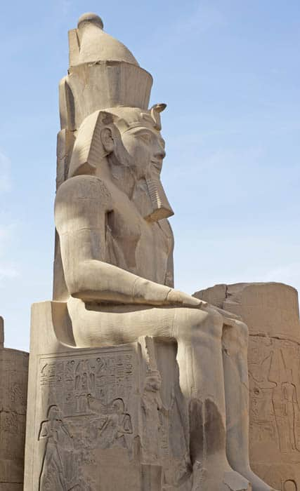 One of the large statues of Ramses II at Luxor Temple in Egypt