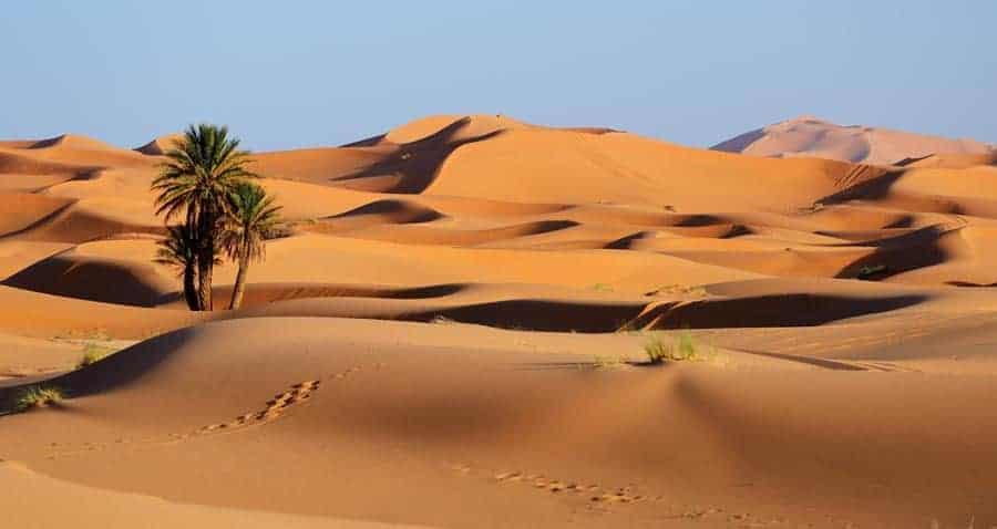 Sand dunes of Sahara desert in Morocco