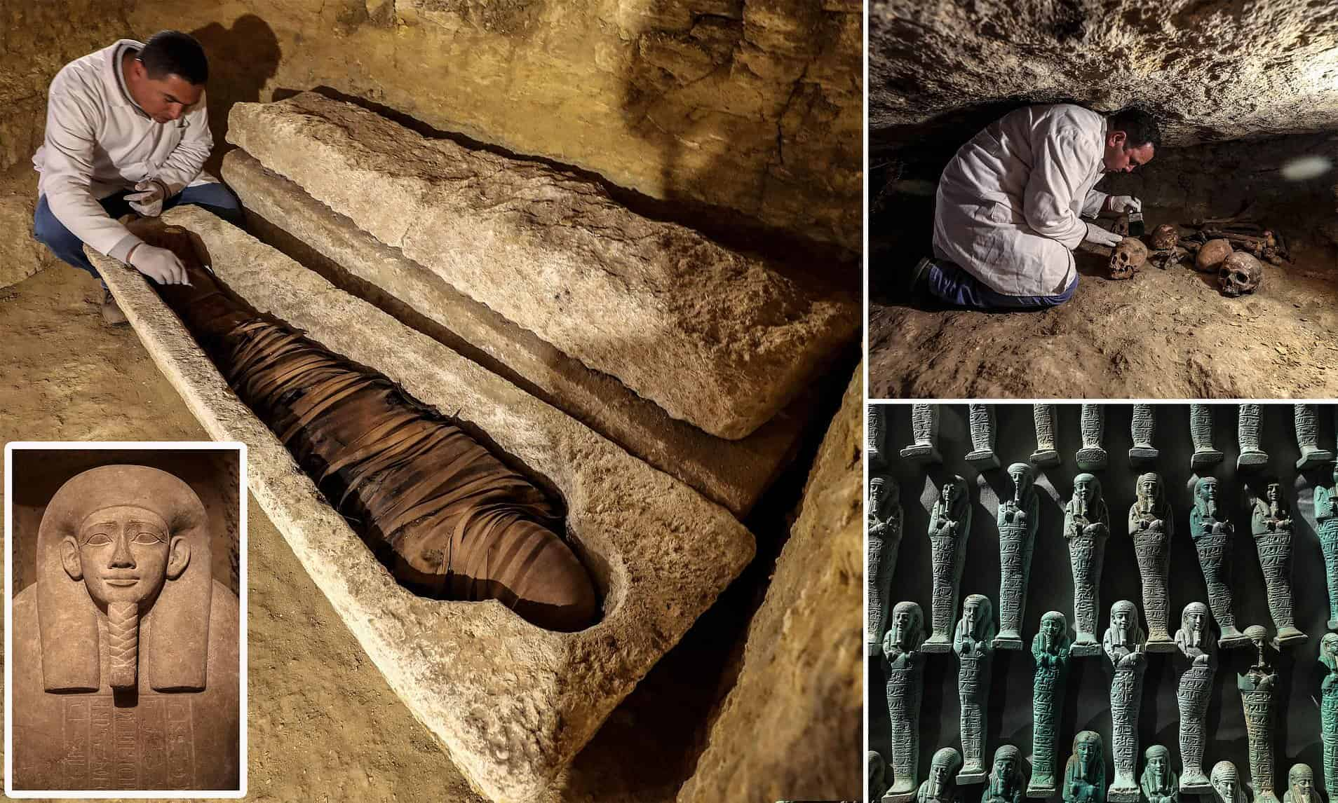 Sixteen ancient tombs containing the mummified bodies of 26th dynasty high priests and officials - Photo Credit: Daily Mail