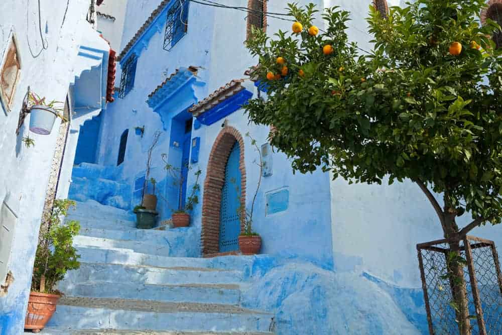 Narrow alleyway in the medina, Chefchaouen, Morocco