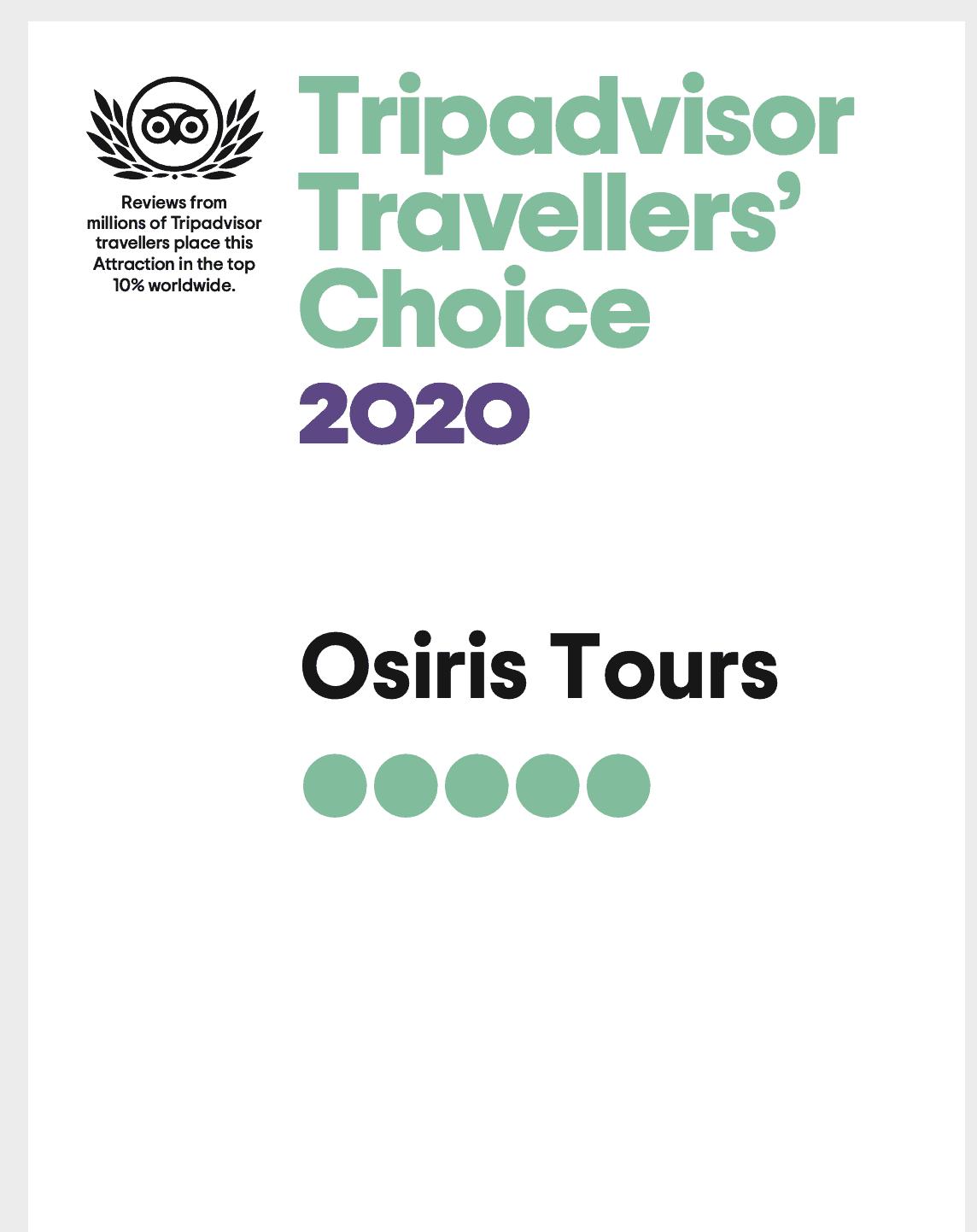 Trip Advisor Traveler's Choice 2020