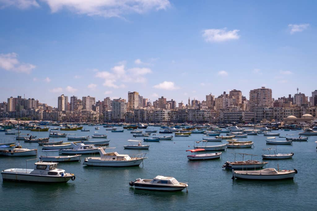 Harbour and skyline of Alexandria, Egypt - Photo by Flo P