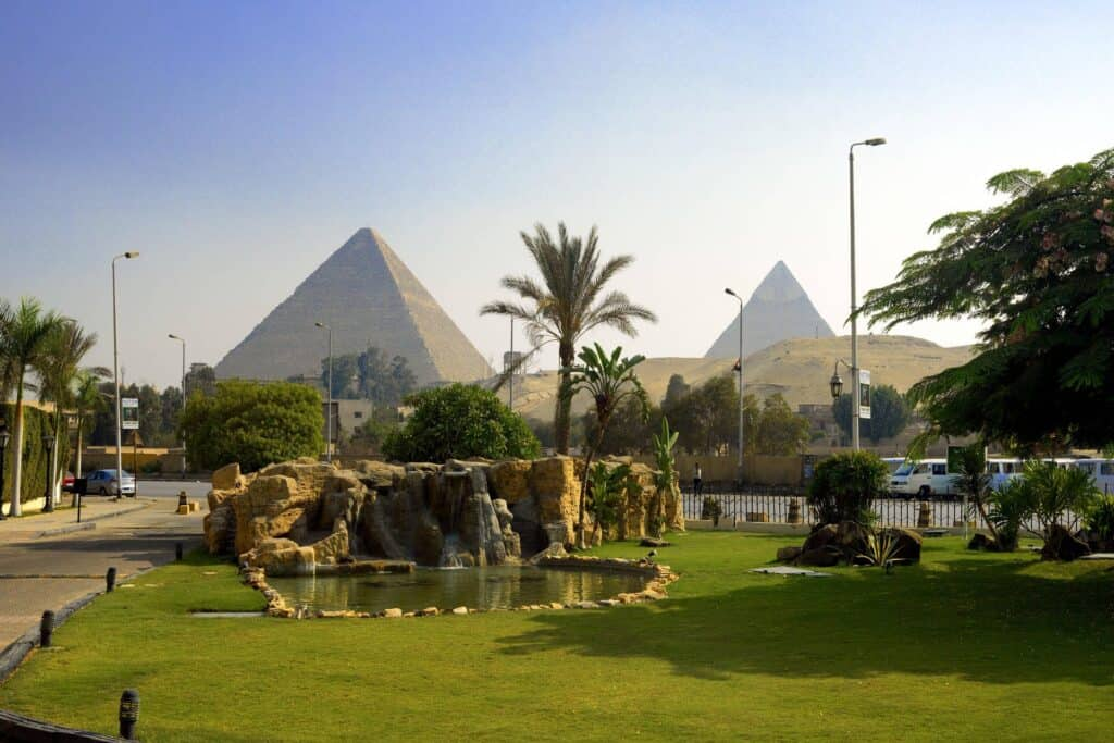 View of the Giza Pyramids from Le Méridien Pyramids Hotel & Spa